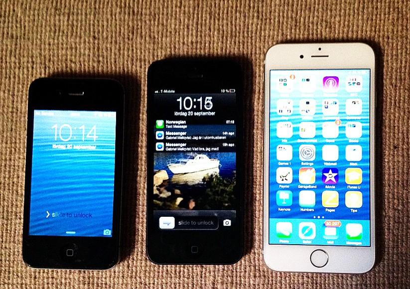 Tre generationers Apple-mobiler: 4S, 5 och 6.