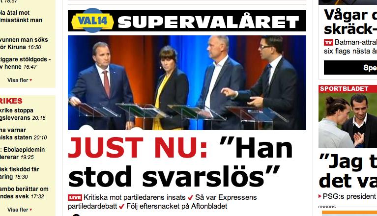 Aftonbladets hemsida efter Expressens tv-debatt på onsdagen.