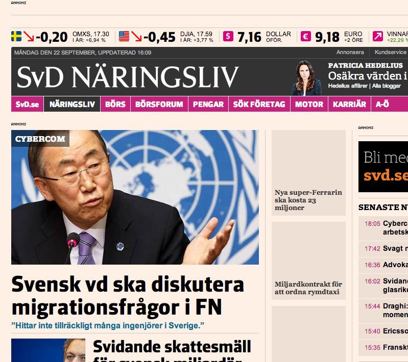 Cybercoms vd till FN för att prata arbetskraftsinvandring.