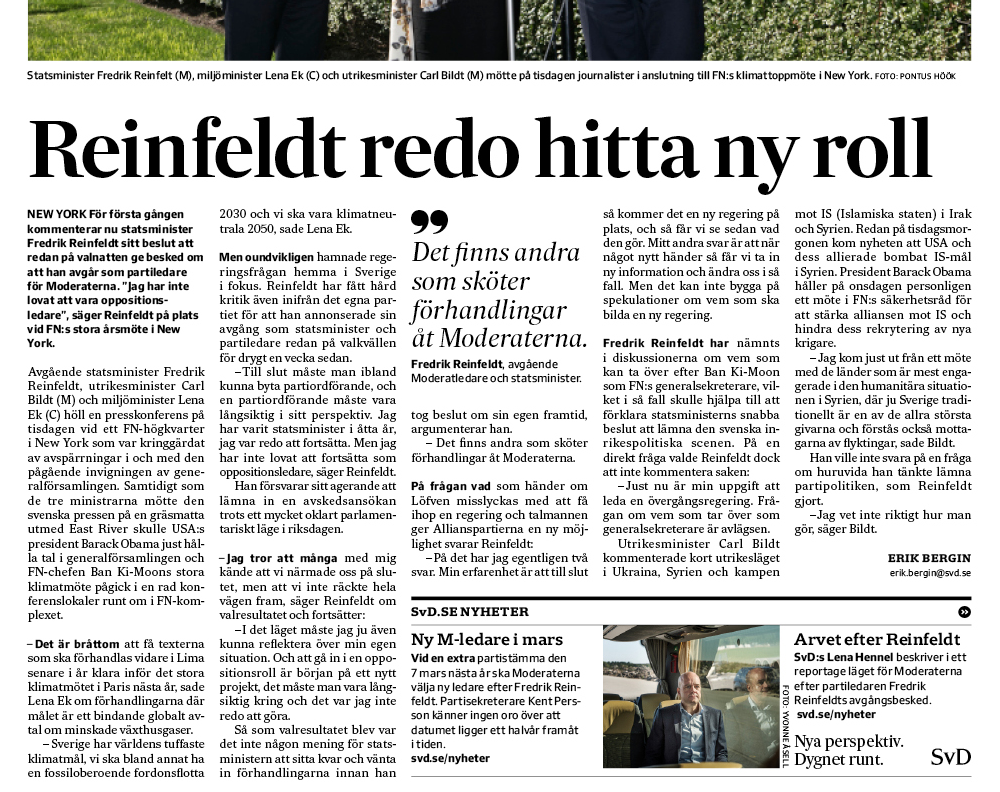 Reinfeldt höll pk vid FN-högkvarteret.