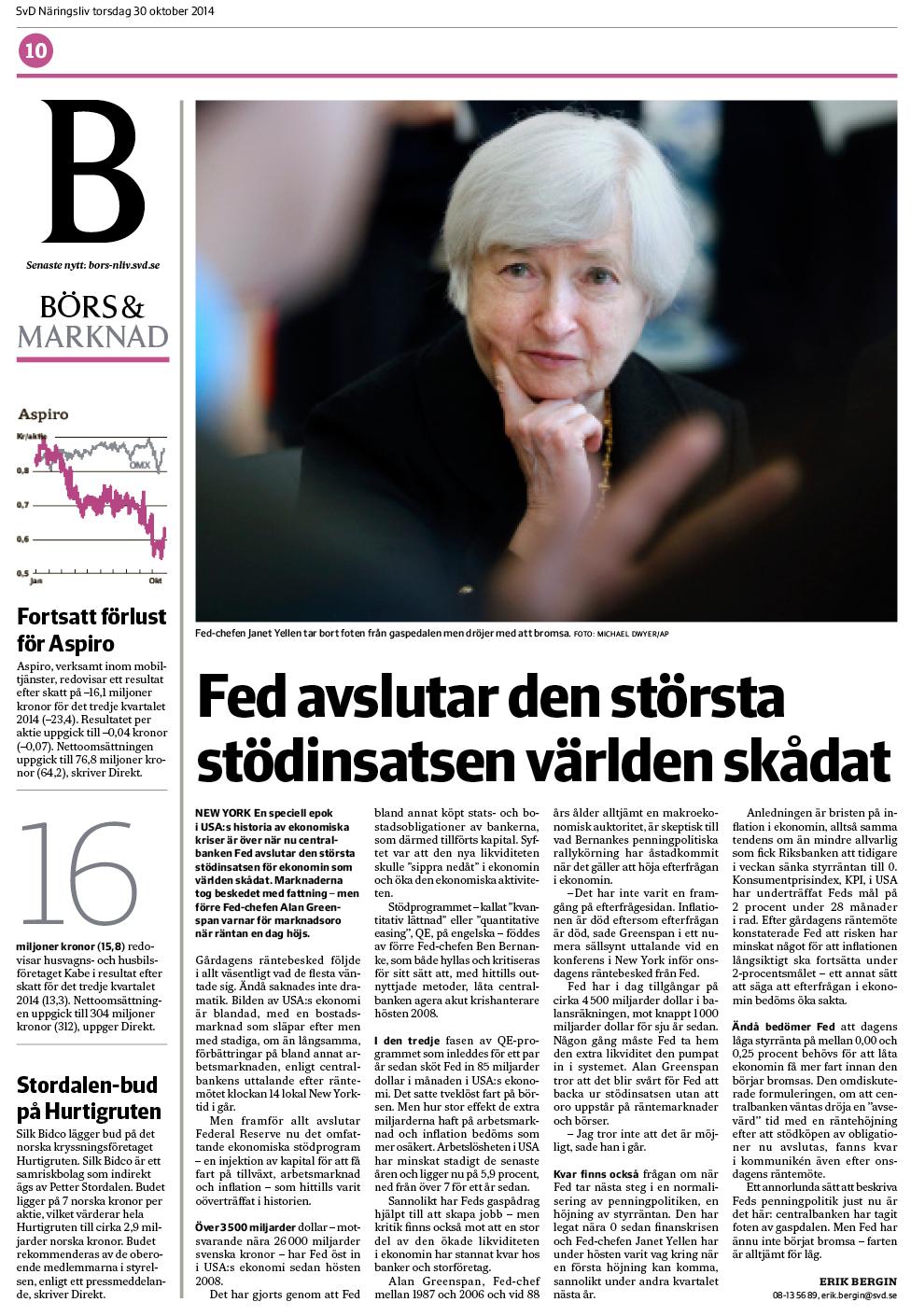 Artikeln torsdagen den 30 oktober 2014 om Feds räntebesked.