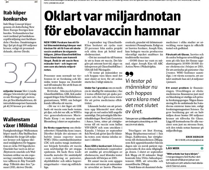 Artikeln om ebola-forskningen den 10/10.
