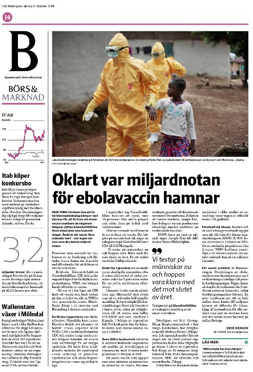 Ebola-sidan i SvD Näringsliv.
