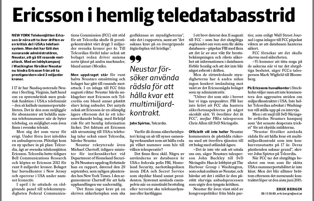 Artikeln om Ericsson den 6 oktober.