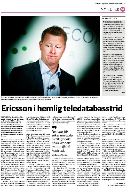 Sidan med artikeln om Ericsson den 6 oktober i SvD Näringsliv.