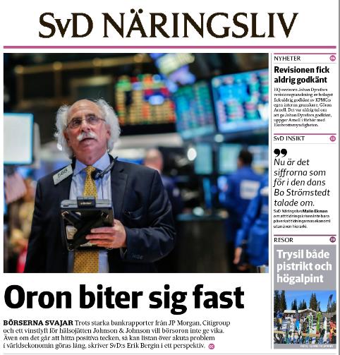 Förstasidan av onsdagens SvD Näringsliv.