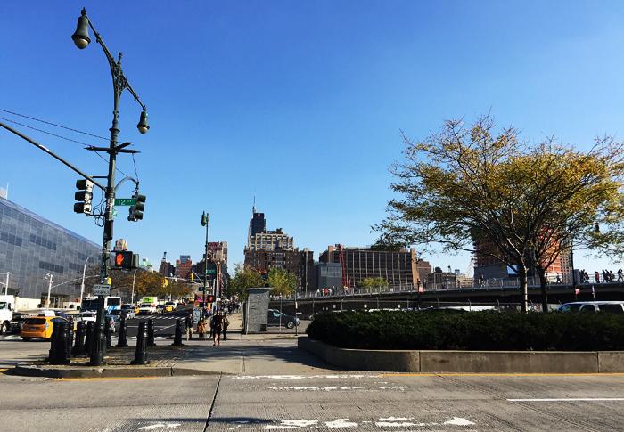 Här slutar High Line, vid 34:e gatan.
