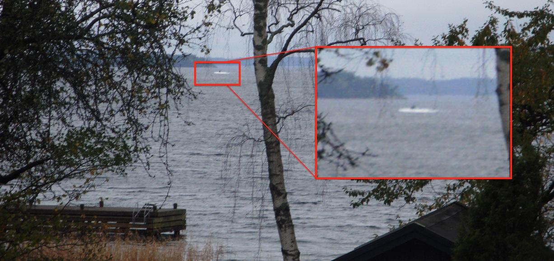 Bilden som påstås visa en främmande ubåt i Stockholms skärgård.