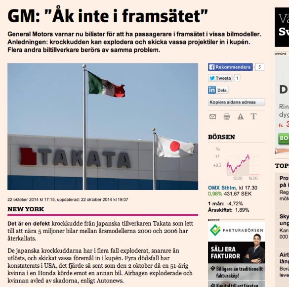 Artikeln om de livsfarliga krockkuddarna på Nliv.se.
