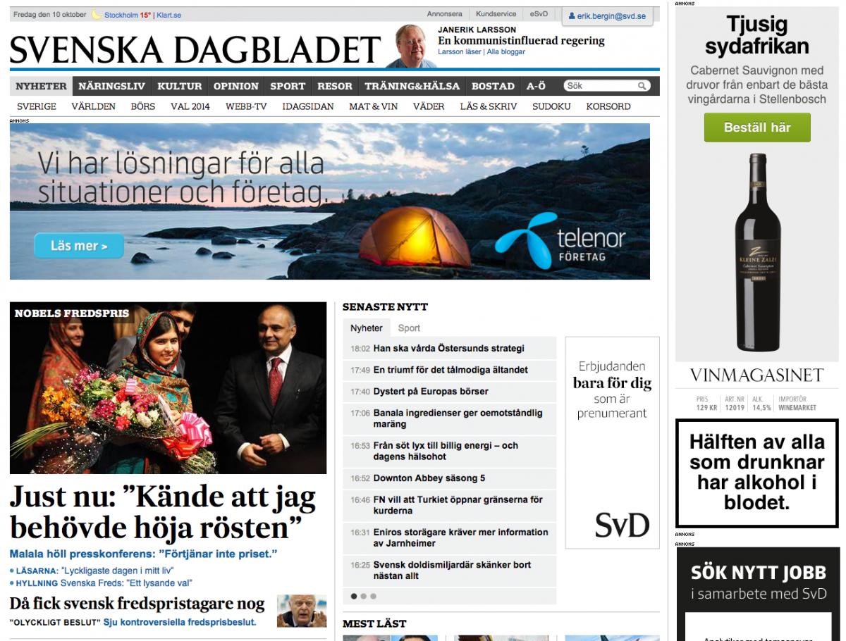 Startsidan på SvD.se.