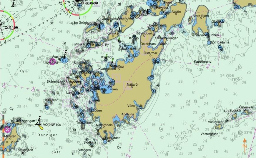 Nåttarö omedelbart söder om Utö i Stockholms skärgård. Källa: Seapilot