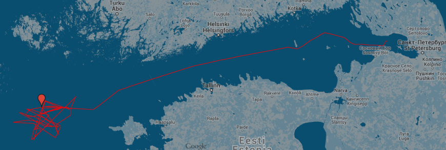 Kartan visar ryska tankern NS Concords färd de senaste dygnen. Källa: Google
