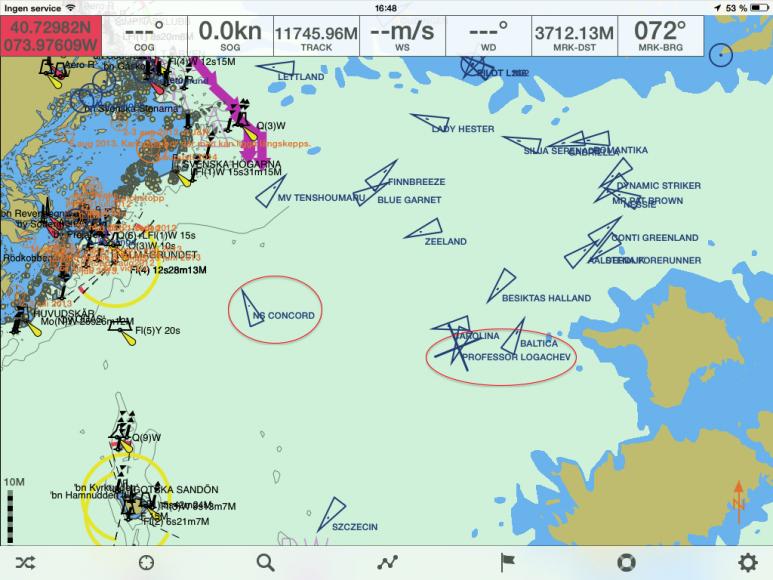 Här befann sig de båda ryska fartygen vid en kontroll på söndagen. Åtminstone positionen för tankern NS Concord verkade vara uppdaterad. Källa. Seapilot