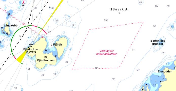 Markeringen vid Möja söderfjärd, norra Kanhollmsfjärden, som varvar för föremål på botten.