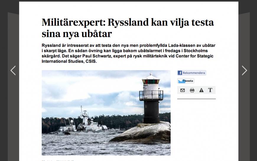 Intervjun med ubåtsexperten Paul Schwartz på SvD.se.