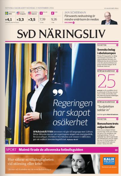 SvD Näringslivs förstasida den 3 november.