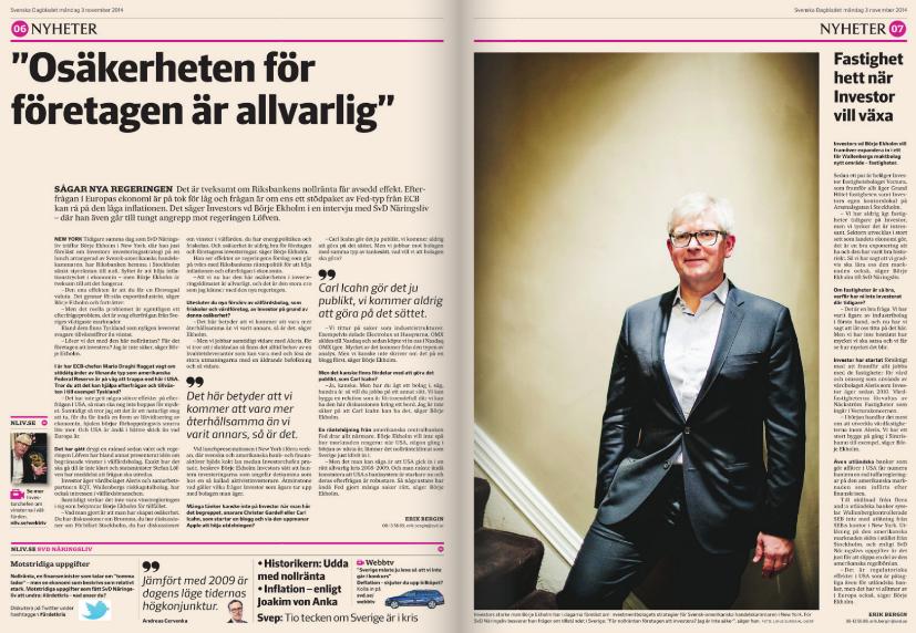 Intervjun med Investors vd Börje Ekholm i SvD Näringsliv den 3 november 2014.