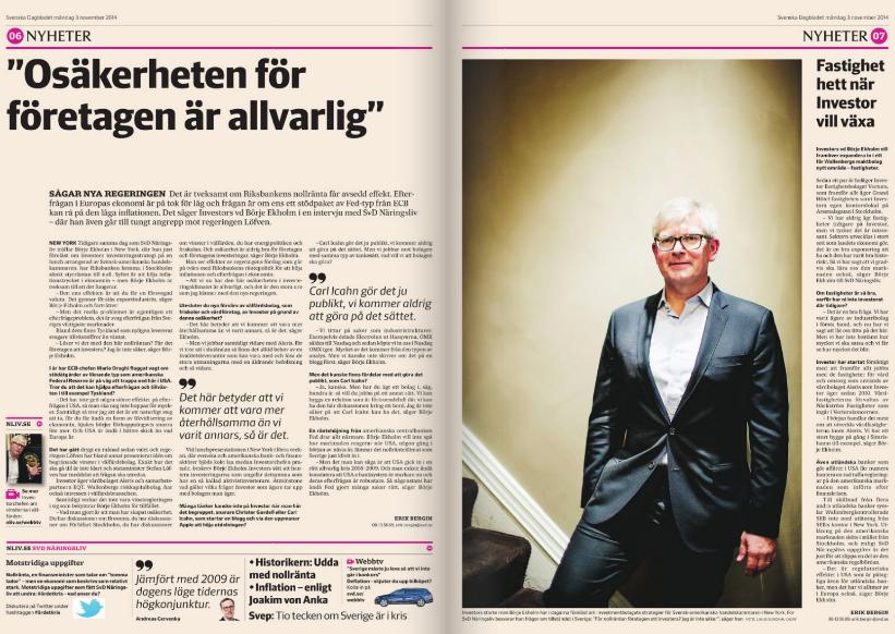 Uppslaget med Börje Ekholm-intervjun i SvD Näringsliv den 3 november 2014.