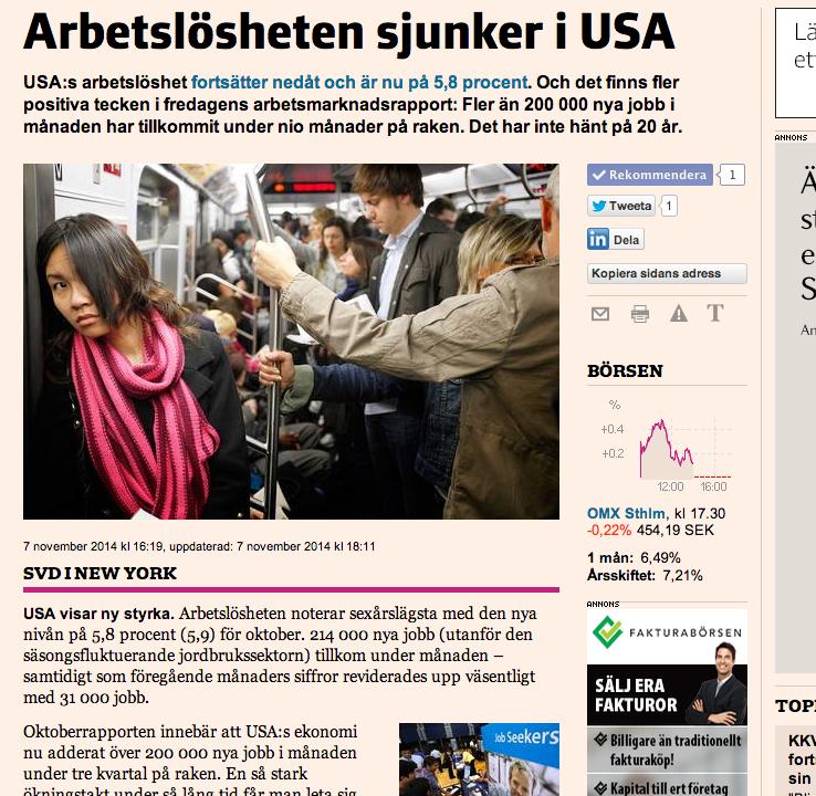 USA visar styrka: artikeln om arbetsmarknadsrapporten på fredagen.