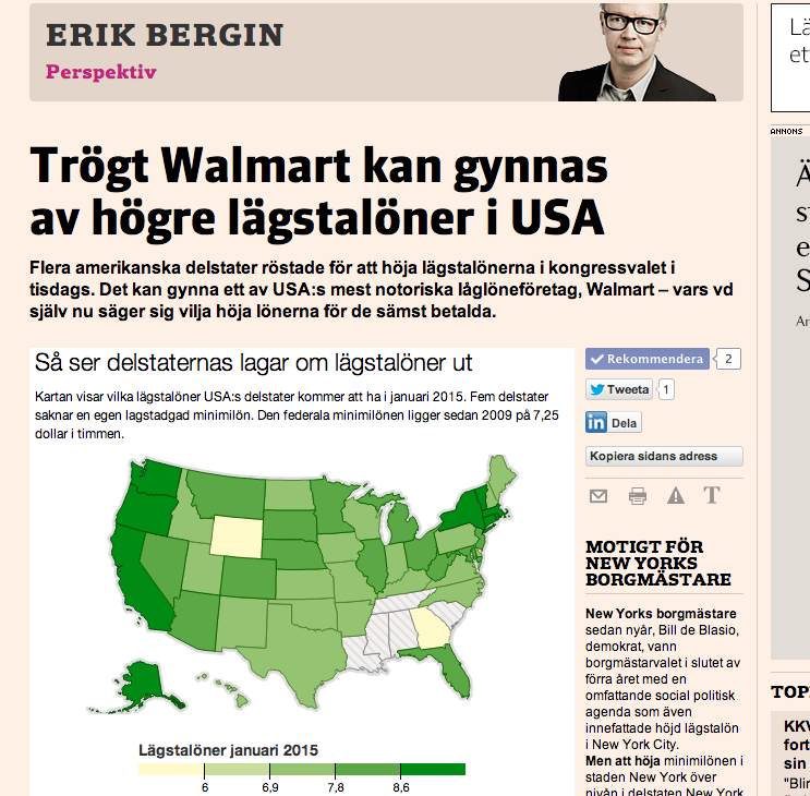 Artikeln om Walmart och lägstalönerna på Nliv.se (har ännu inte publicerats i papperstidningen).