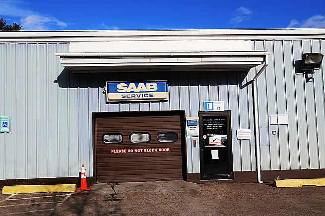 Här servas Saab-bilar.
