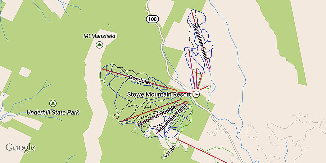 Stowe Ski Resort som den ser ut i Google Maps i mobilen.
