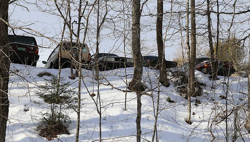 """En galning som samlar på gamla Volvobilar. Vi räknade till elva Volvos på gården, där en skylt med texten """"Beware of the dog"""" varnar besökare från att komma i närheten."""
