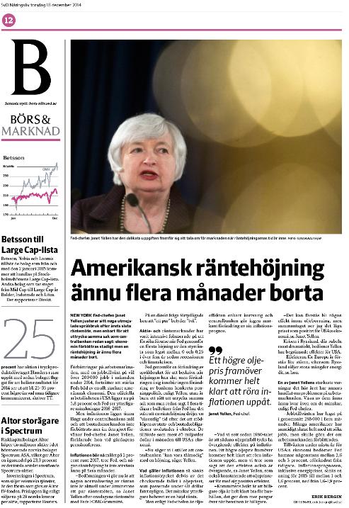 Sistaupplagan (E3) av rapporten om Feds räntemöte i torsdagstidningen.