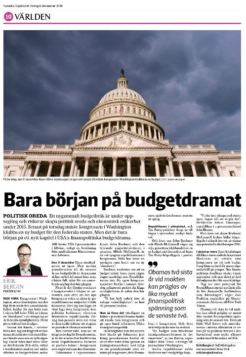 Budgetsidan i SvD Näringsliv lördagen den 6 december 2014.