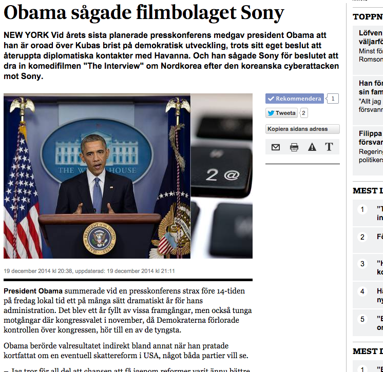 Rapport på SvD.se om president Obamas sista planerade presskonferens för året fredagen den 19 december.