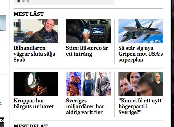 SvD:s läsare gillar att läsa om Saab Automobile.
