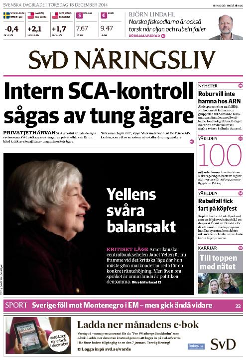 SvD Näringslivs förstasida med Fed-chef Janet Yellen på bild.