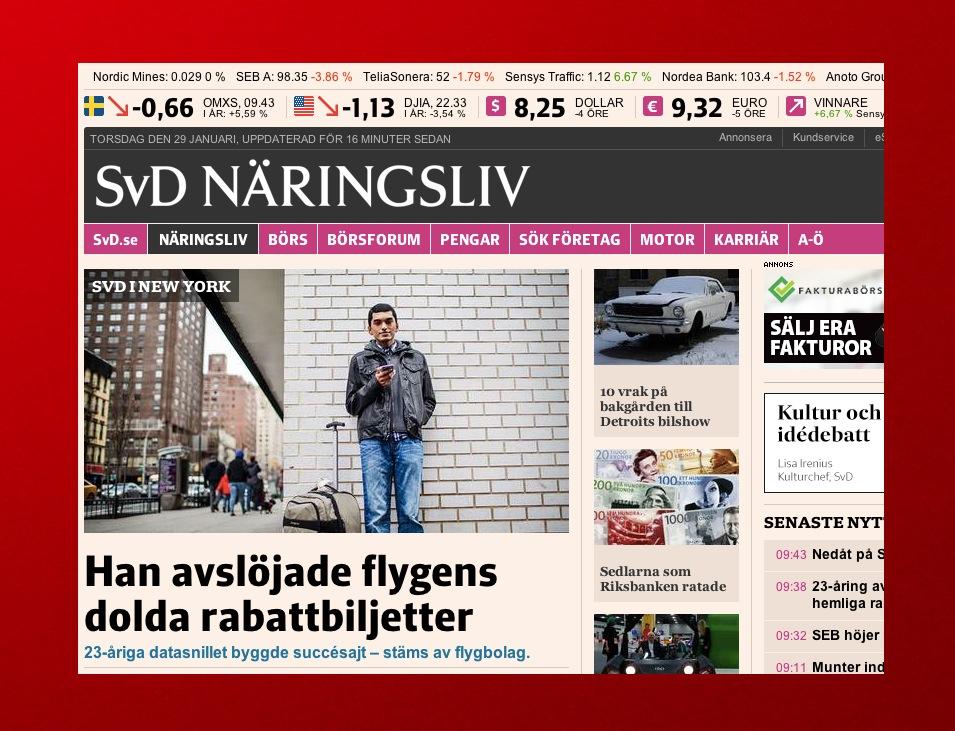 Artikeln om Aktarer och hans sajt Skiplagged på Nliv.se torsdag den 29 januari.