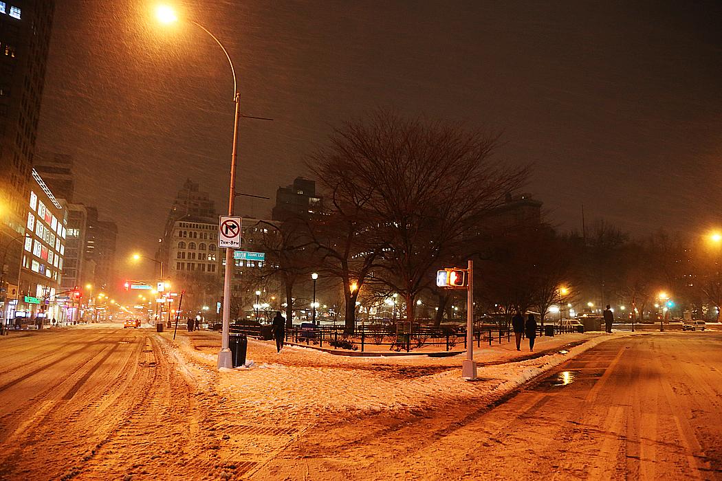 Ett öde Union Square.