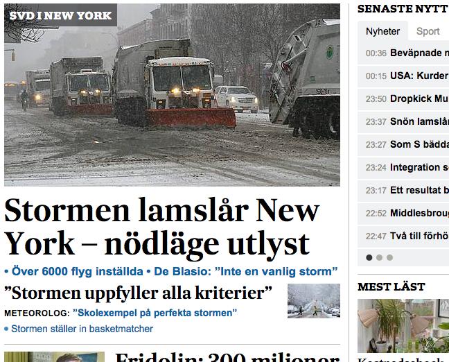 Artikeln om snöstormen i topp på SvD.se på tisdagsmorgonen den 27 januari (där den legat under natten).