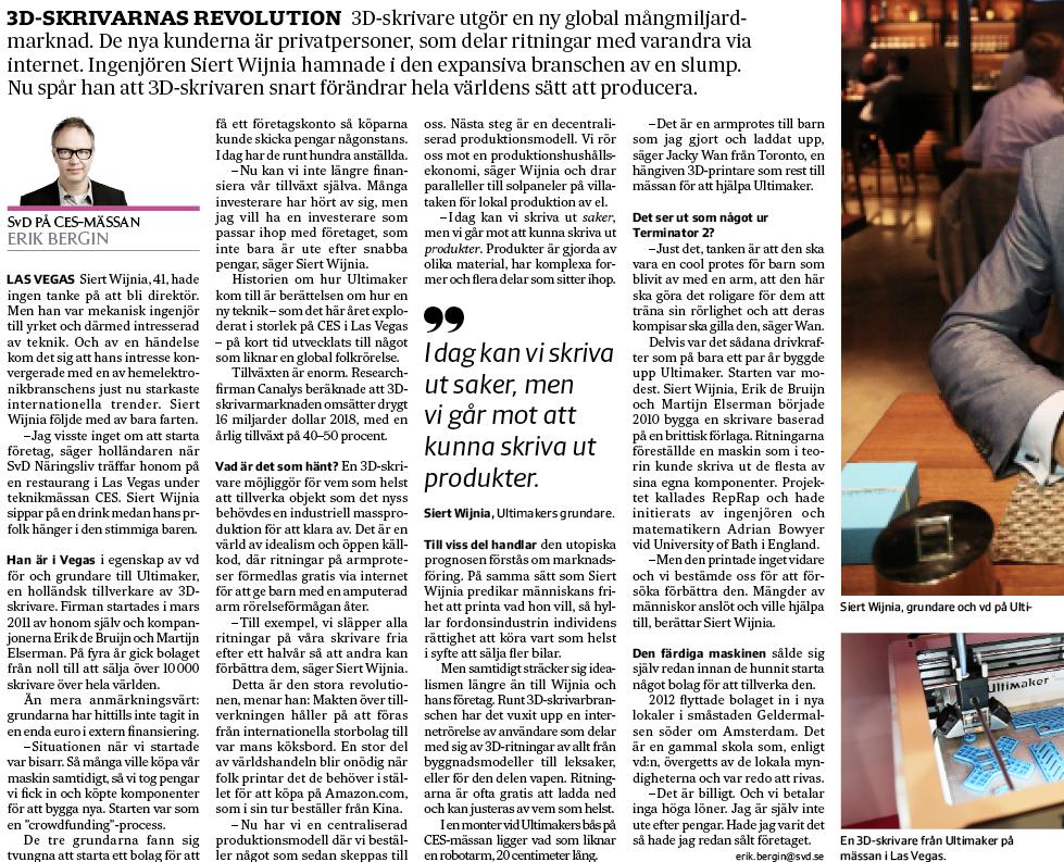 Artikeln i SvD Näringsliv den 16 januari om 3D-skrivartillverkaren Ultimaker. Klicka på bilden för större version.