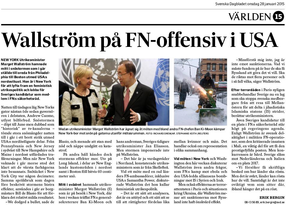 Artikeln om snöstormen och Wallström i SvD onsdagen den 28 januari 2015.