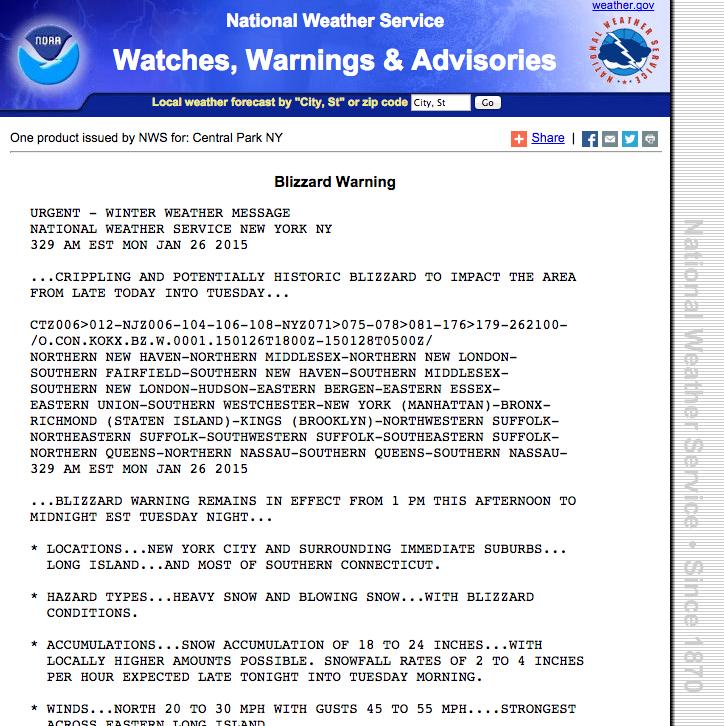 Snöstormvarningen från National Weather Service på måndagsmorgonen.