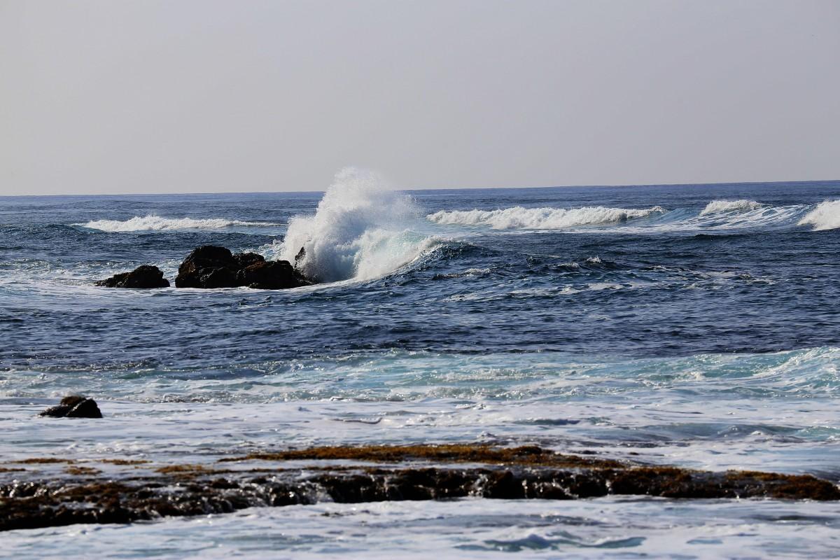 Vågor slår in nära Oahus västra spets.