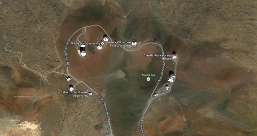 Teleskopen på Mauna Kea. Foto: Google Maps