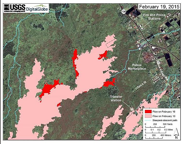 Geologimyndigheten USGS karta som visar hur lavan hotar staden Pahoa sommaren 2014.