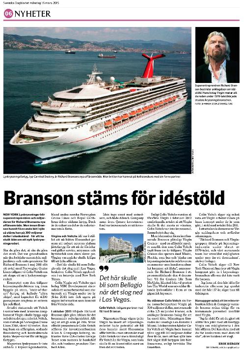 Artikeln om Virgin Cruises 14 mars 2015.