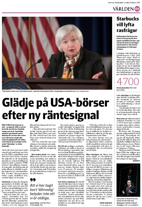 Sidan i tidningen efter centralbanksmötet onsdag den 18 mars.