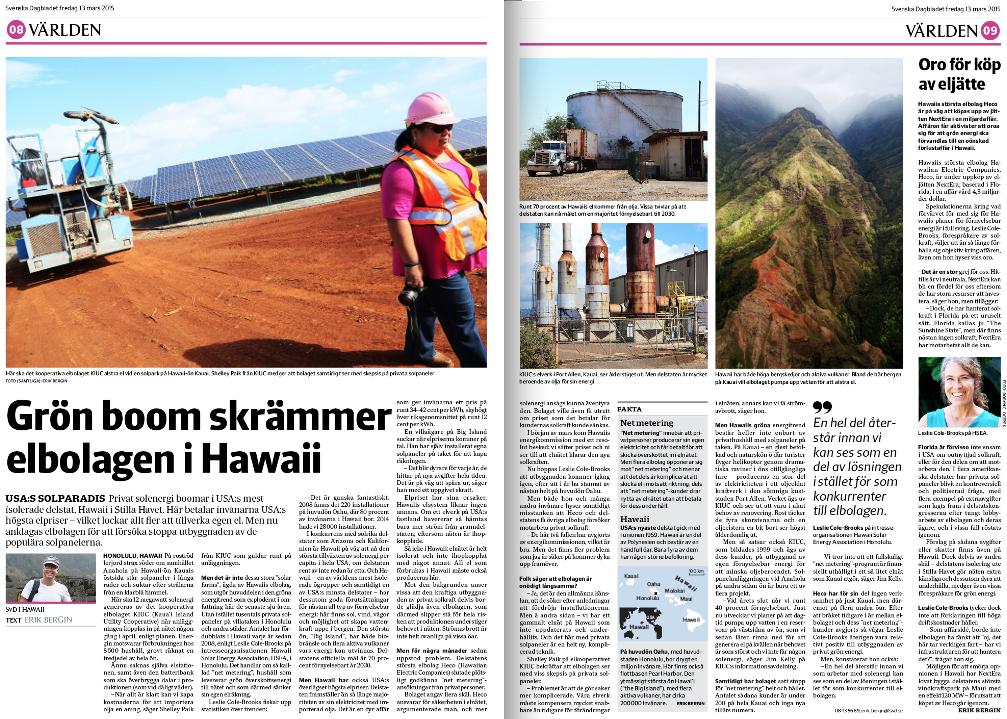 Mitt uppslag om Hawaiis energimarknad (inklusive mina bilder) fredagen den 13 mars 2015.