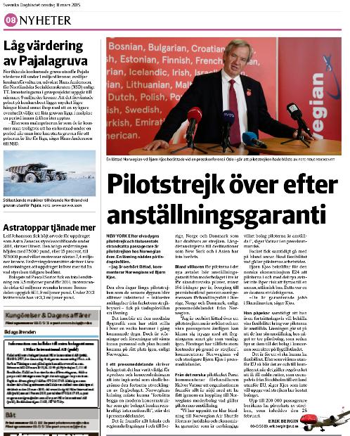 Artikeln om strejkstoppet i SvD Näringsliv den 7 mars 2015.