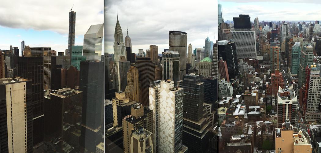 Tre mobilbilder med utsikt från svenska FN-missionens kontor på 46:e våningen i en skrapa vid 47:e gatan, 2:a avenyn, New York City.