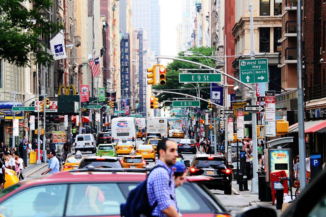 Södra Manhattan en sommarvarm fredag.