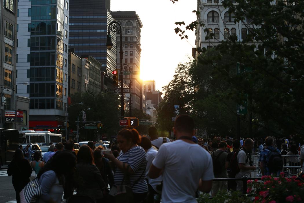 Union Square full av förväntan.