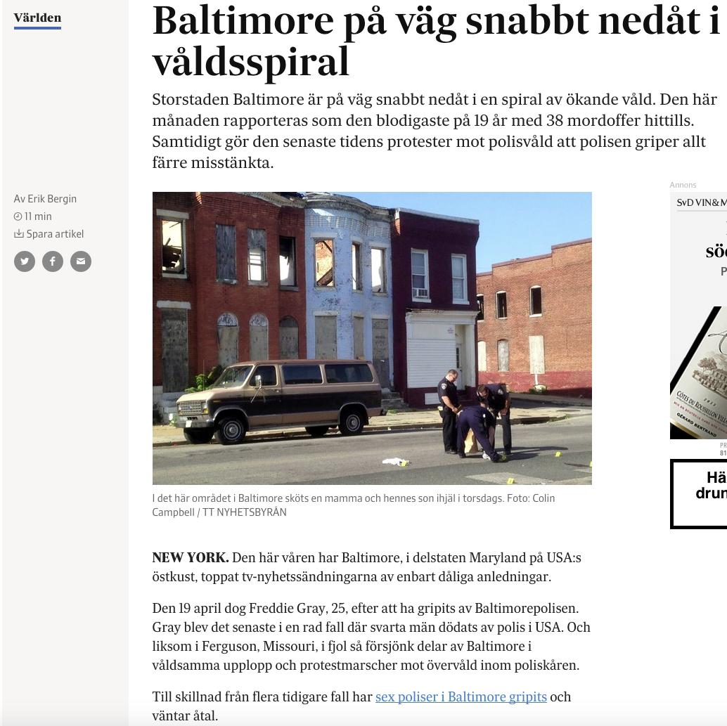 Artikeln om mordvågen i Baltimore på svd.se.