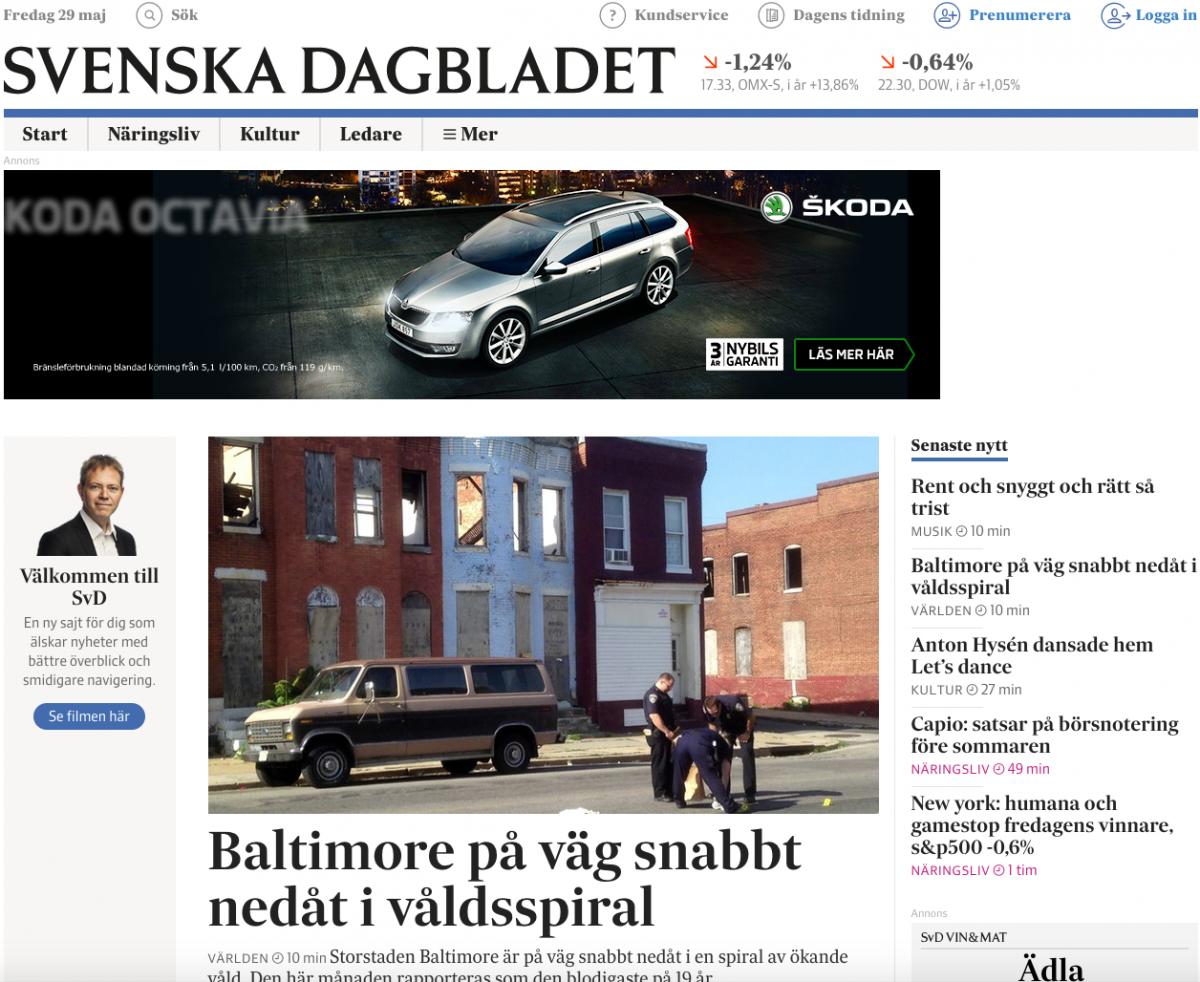 Förstasidan på svd.se vid 23:30-tiden.